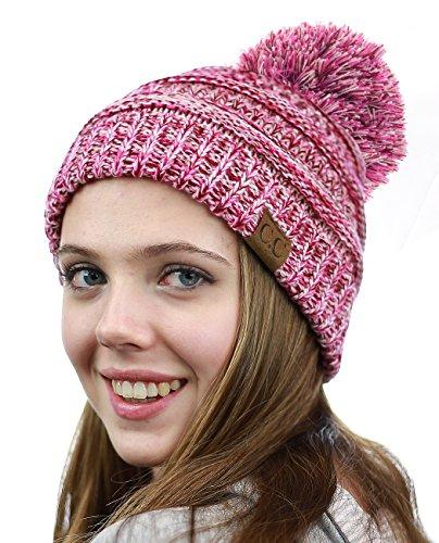 NYFASHION101 Unisex Multicolor Warm Cable Knit Slouch Pom Pom Beanie Cap, 3 Tone Pink