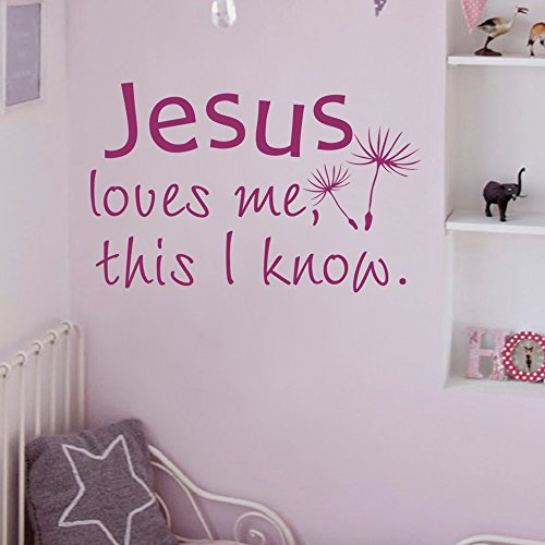 Diggoo Jesus Loves Me This I Know Christian Wall Decal Bible Verse Sticker Baby Nursery Room Decor(Dark brown,l) by Diggoo