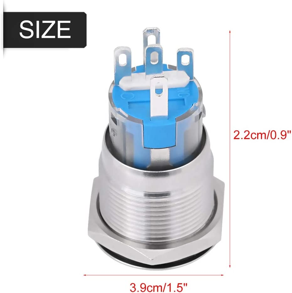 Silver Black Optional Engine Start Switch 12V Car Engine Start Stop Button Switch 19mm White Led Material Stainless Steel Zinc Aluminum Alloy Black