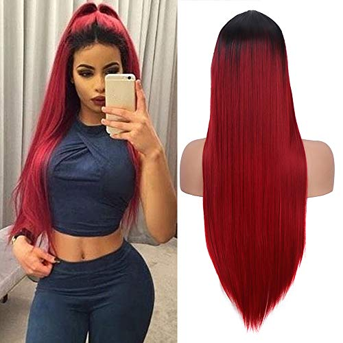 Best Red Wine For Halloween (Ombre Wine Red Wig Women Silky Long Straight Wig Fashion Burgundy Synthetic Wig for Cosplay Party Halloween Costume 22 Inches Natural Hairline Middle Part(With A Free Wig)