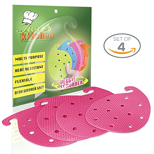 4 Vegetable Scrubber Brushes: Double Sided Silicone Fruit and Vegetable Scrubber - Multi Use: Potato Scrubber - Carrot Brush - Trivet - Jar Opener BBQ grill glove (Pink)