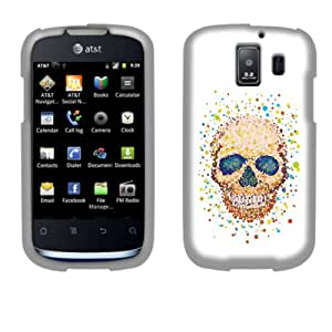 Fincibo (TM) Protector Cover Case Snap On Hard Plastic Front And Back For Huawei Fusion 2 U8665 - Colorful Skull Pixel