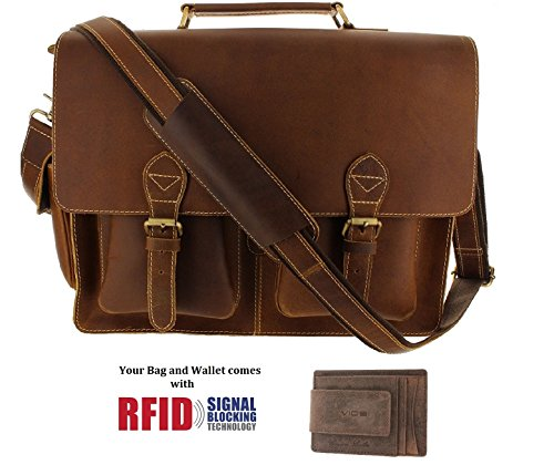 Viosi 16'' Genuine Leather Laptop Briefcase Messenger Bag Front and Side Pockets by Viosi