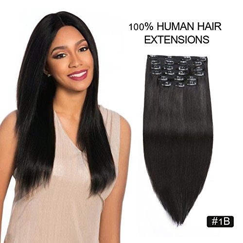 Clip on Hair Extensions Human Hair, Re4U 24inch 220gram Thick Real Human Hair #1B Off Black Clip in Extensions for Short and Thin Hair (24