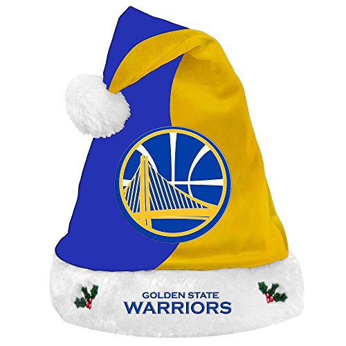 Golden State Warriors 2017 NBA Basic Logo Plush Christmas Santa Hat (Plush Hat State)