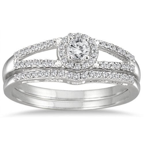 1/3 Carat TW Diamond Split Shank Bridal Set in 10K White Gold -