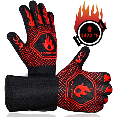 Homemaxs BBQ Gloves 1472℉ Extreme Heat Resistant Grill Gloves, Food Grade Kitchen Oven Mitts, Silicone Non-Slip Cooking Gloves for Barbecue, Cooking, Baking, Welding, Cutting, 14 Inch
