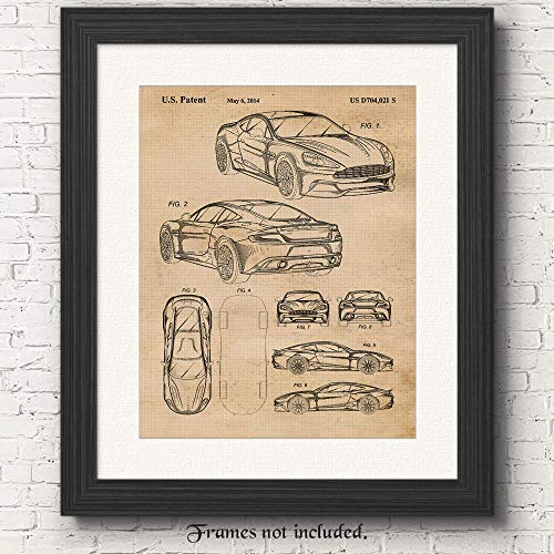 Original Aston Martin Vanquish Patent Poster Prints- Set of 1 (One 11x14) Unframed Photo- Great Wall Art Decor Gifts Under $15 for Home, Office, Garage, Man Cave, Shop, Studio, James Bond Movies Fan