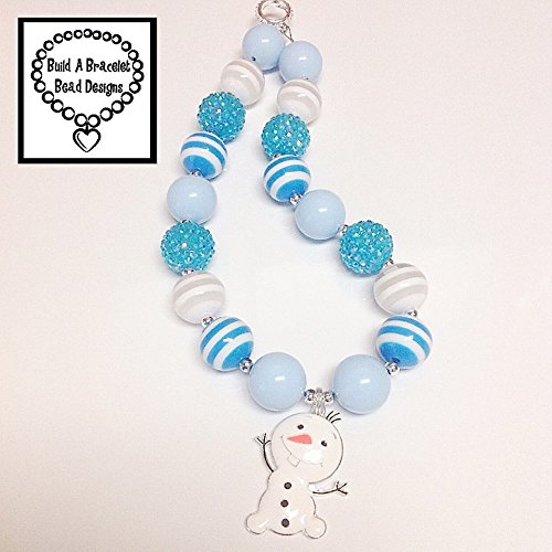 (Girls, Toddler, Baby Bubblegum Chunky Oh So Olaf Necklace Blue White Striped Rhinestone Jewelry Accessory By BuildABraceletBeadDesigns)