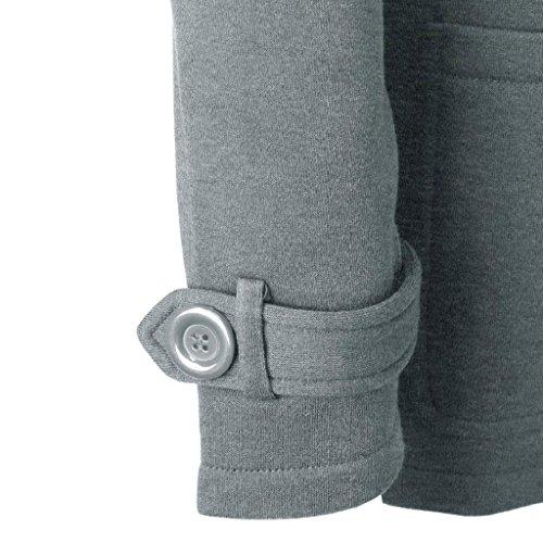 Vovotrade coupe Femmes Long Trench Coat Slim Outwear Chaude vent Laine Veste Gris Mode Chaleureux et rqrZ5