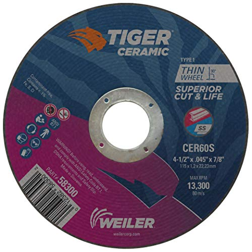 Weiler 58300 4-1/2 x .045 Tiger Ceramic Type 1 Cut Off Wheel CER60S 7/8 A.H. (Pack of 25) Coating Cut Cutting Angle Flute (Pack of 25)
