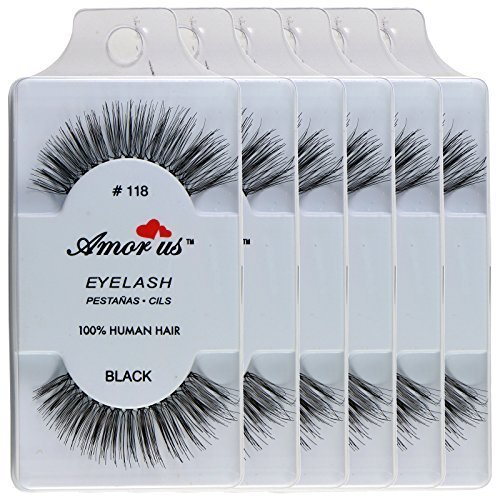 6 Pairs Amorus 100% Human Hair False Eyelashes Made in Indonesia #118