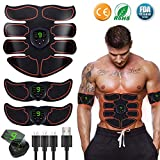 Moonssy Abs Trainer Abdominal Belt, EMS Muscle Stimulator with LCD Display & USB Rechargeable,Ab Belt Toning Gym Workout Machine For Men & Women