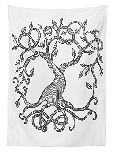 """Ambesonne Celtic Tablecloth, Single Celtic Tree Life with Swirly Long Branchesnd Roots, Rectangular Table Cover for Dining Room Kitchen Decor, 60"""" X 90"""", Grey White"""
