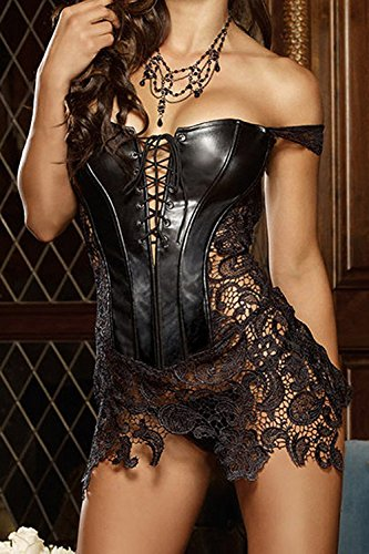 Minetom Mujeres Atractivo Encaje Bustiers Faux Leather Lace Up Front Cierre Push-up Corsés Goth Bustier con G-string Negro