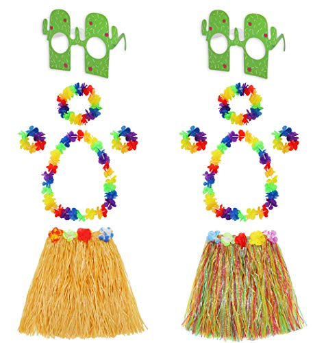 Hawaiian Hula Grass Skirt Set with Flower Necklace Bracelets Headband and Cactus Glasses Girls Elastic Grass Skirt Kids Dance Supply Costume Party Decoration 2 Sets (Straw Color Mixed Color) 12 ()