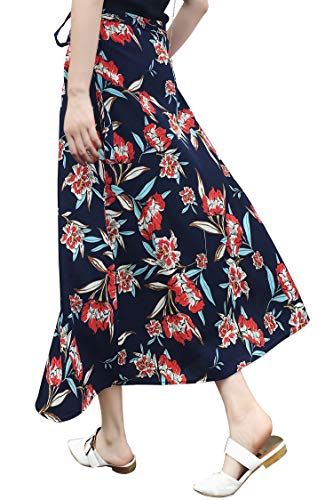 Floral Wrap Skirt,Vintage A-line Printed Maxi Skirts for Women Travel Beach Skirts,Big Flower