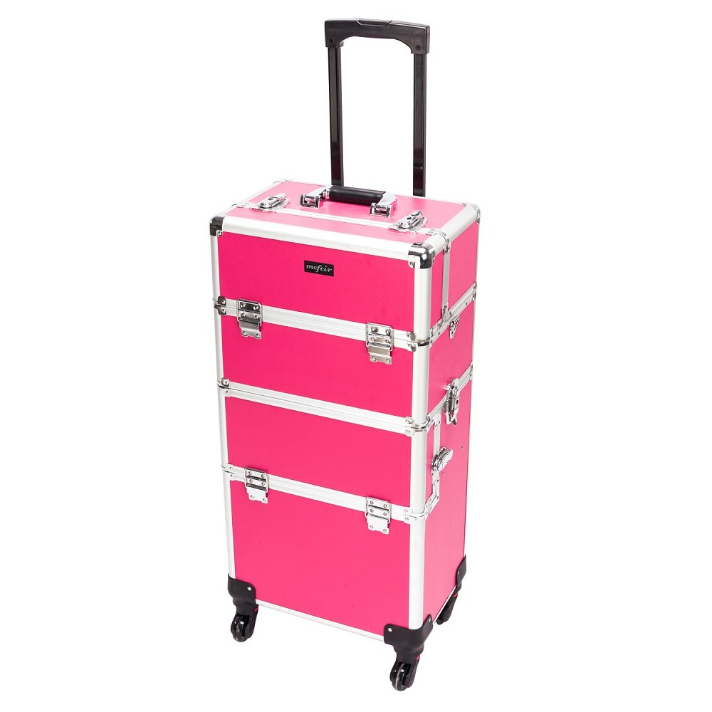 Mefeir 2-in-1 Rolling Makeup Train Case,4 Removable Wheels with Lockable Keys Shoulder Strap,Aluminum Cosmetic Trolley Beauty Organizer, for Mother Wife Girlfriend Daughter Stylist Rose-Pink
