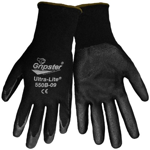 Global Glove 550B Gripster Ultra Light Nitrile Glove with Knit Wrist Liner, Work, Large, Black (Case of 72) by Global Glove