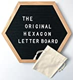 The Original Hexagon Premium Felt Letter Board, Vintage and Changeable: 12 Inch x 14 Inch with Oak Wood Frame and 290 Letters, Numbers and Punctuation, Includes Wall Mounting Hook and Free Canvas Bag