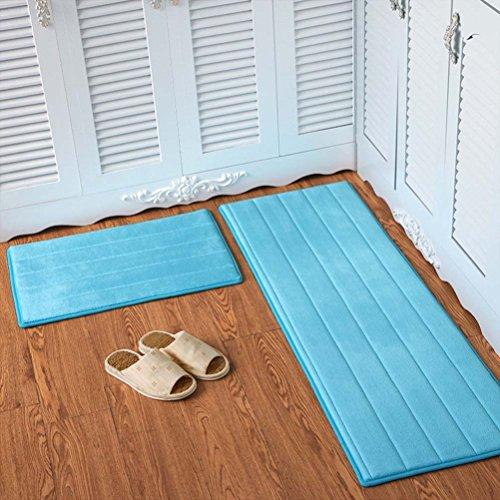 (YJBear Flannel Solid Rectangle Floor Mat Entry Mat Doormat Home Decor Carpet Indoor Outdoor Area Rug Kitchen Floor Runner Sky Blue Stripe 23.6