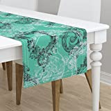 Table Runner - Rococo Baroque Italian Ornate Elegant Aqua Emerald by Peacoquettedesigns - Cotton Sateen Table Runner 16 x 72