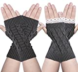 2 Pairs Women Winter Warm Knit Fingerless Gloves Hand Crochet Thumbhole Arm Warmers Mittens (One Size, B-2 Pairs (Dark Gray))