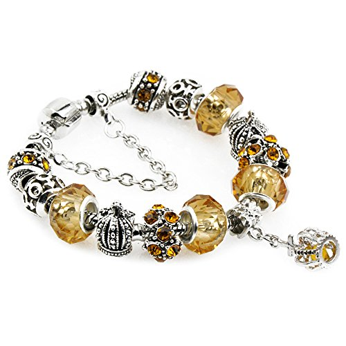 zgshnfgk Ladies Charms Bracelets Delicate Flowers Glass Beads Safety Chain Fashion Crystal Jewelry(20-Yellow) -