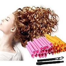 QrBxa 50CM DIY Manual Hair Curler Magic Spiral Ringlets Stretched Circle Roller 40 Packs (pink&orange)