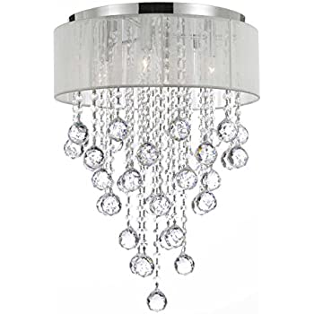 Flushmount 4 light chrome and white shade crystal chandelier flushmount 4 light chrome and white shade crystal chandelier chandeliers lighting mozeypictures Gallery