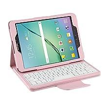 Samsung Galaxy Tab S2 9.7 Keyboard Case, Pasonomi® Premium PU Leather Folio Case Cover & Detachable Wireless Bluetooth Keyboard Cover Case for Samsung Galaxy Tab S2 SM-T810 9.7 Tablet (Pink)