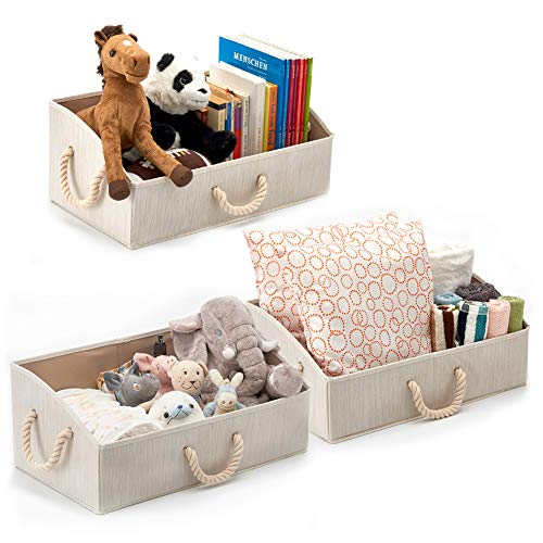 Set of 3 Large Storage Bins EZOWare Foldable Bamboo Fabric Trapezoid Organizer Boxes with Cotton Rope Handle, Collapsible Basket for Shelves, Closet, Baby Toys, Diaper, and More ()
