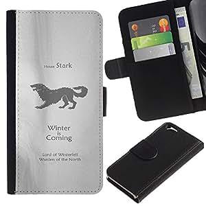 YiPhone /// Tirón de la caja Cartera de cuero con ranuras para tarjetas - Casa Stark - Apple Iphone 6