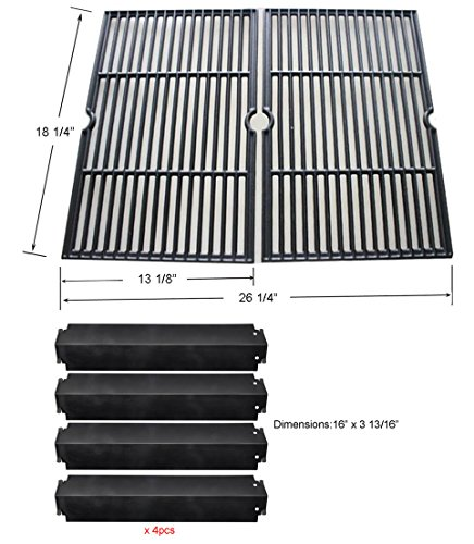 Charbroil Gas Grill Replacement Rebuild Kit-Porcelain Coated Cast Iron Cooking Grill Grates and Porcelain Steel Heat Plates by BBQ funland