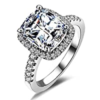 Women fashion 2ct Princess Cut Cubic Zirconia Wedding Halo Solitaire Engagement Bridal Ring Jewelry