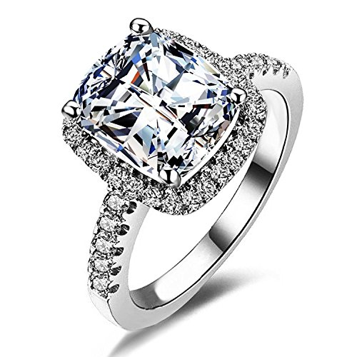 Women fashion 2ct Princess Cut Cubic Zirconia Wedding Halo Solitaire Engagement Bridal Ring Jewelry (8)