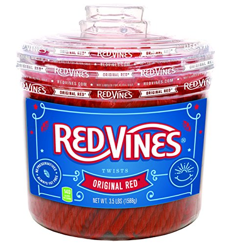 Red Vines Licorice, Original Red Flavor, 3.5LB Bulk Jar, Soft & Chewy Candy Twists