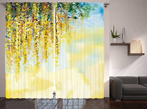 Ambesonne Watercolor Flower Decor Collection, Charms of Golden Color Wisteria Watercolor Painting, Window Treatments, Living Room Bedroom Curtain 2 Panels Set, 108 X 90 Inches, Light Green Ivory (Wisteria Fan Light Shade)