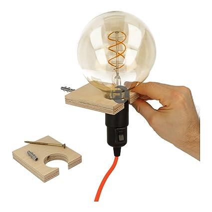 C/âble textile avec douille/E27 1,8 Meter Glattmantel prise et interrupteur Noir C/âble dalimentation avec prise et interrupteur 2/fils 2/x/0,75/mm/²