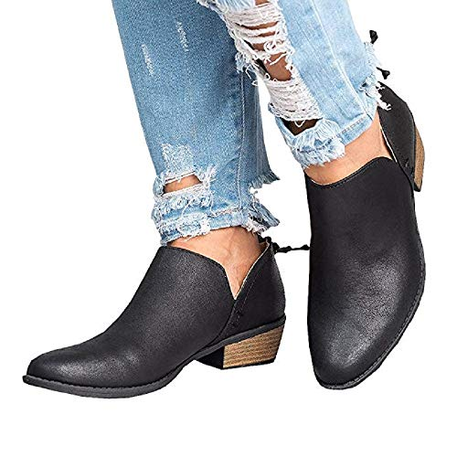 Plate Cuir Chaussure Beige Bottes Bottines 43 4 Femme Bateau Automne Cm Confortable Talon Rose 35 Pointu Zip Basse Bout Noir A CnZtgTnq
