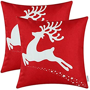 Pack of 2 CaliTime Soft Canvas Throw Pillow Covers Cases for Couch Sofa Home Decor, Christmas Holiday Reindeer Print, 18 X 18 Inches, Christmas Red