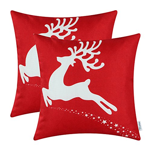 Pack of 2 CaliTime Soft Canvas Throw Pillow Covers Cases for Couch Sofa Home Decor, Christmas Holiday Reindeer Print, 18 X 18 Inches, Christmas Red (Red Holiday Pillow)