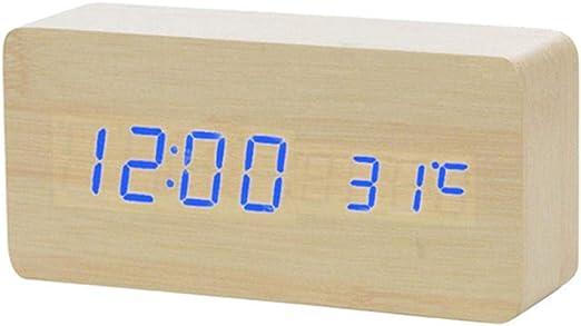Alarmclocker8B Reloj Despertador LED de Madera Reloj de Mesa con ...
