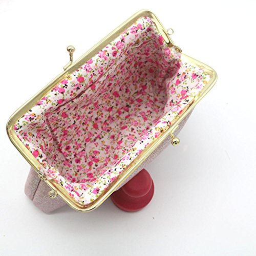 Clearance Hasp Shining Women Sparkling Bag Purse Wallet Small Clutch Pink AAgFqxvf