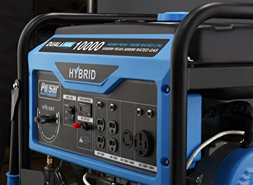 Pulsar PG10000B16 10,000W Dual Fuel Switch & Go Technology & Electric Start Portable Generator, Black