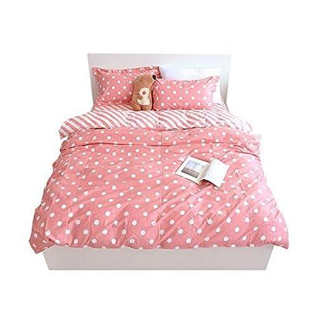 Yousa polka dot bedding set pink duvet cover set girls bedding twin