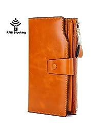 GDTK Women's Luxury Genuine Leather Wallet With Zipper Pocket RFID Blocking