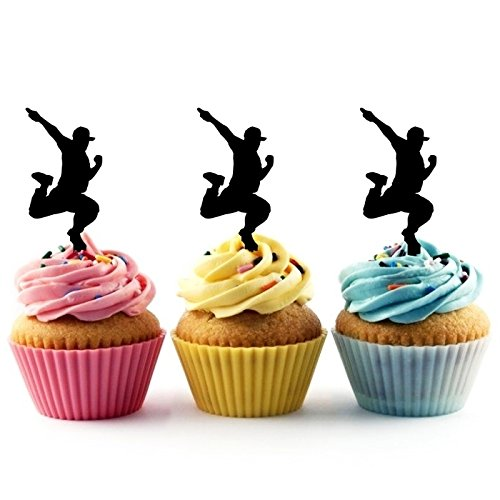 TA0251 Hip Hop Dancing Silhouette Party Wedding Birthday Acrylic Cupcake Toppers Decor 10 pcs
