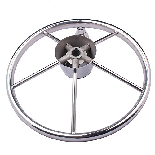 HOFFEN 13-1/2 Inch Stainless Steering Wheel With Turning Knob Destroyer Style Fits 3/4'' Tapered Shaft Helm by HOFFEN (Image #2)