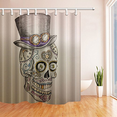 ChuaMi Skull Head Shower Curtain, Black Top Hat and Grey Glasses, Heart-Shaped Clock, Bathroom Decor Design with Hooks, Mildew Resistant Waterproof Fabric 69 x 70 ()